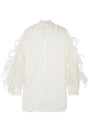 Valentino   Feather-trimmed ruffled silk-organza blouse   NET-A-PORTER.COM