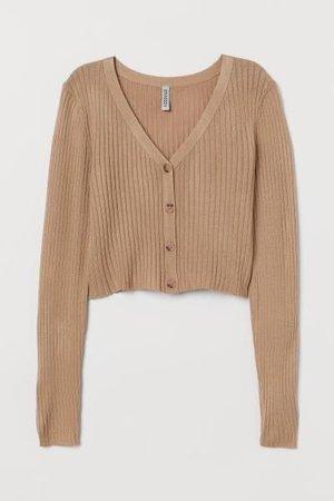 Rib-knit Cardigan - Beige - | H&M