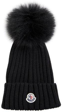 Rib Virgin Wool Beanie with Genuine Fox Fur Pom