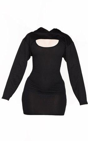 Shape Black Rib Hooded Cut Out Bodycon Dress | PrettyLittleThing USA