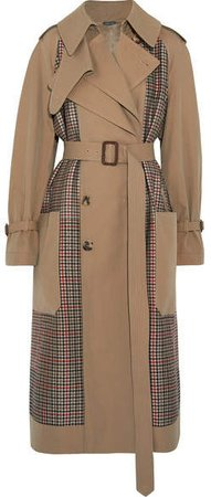 Gabardine And Prince Of Wales Checked Tweed Trench Coat - Sand