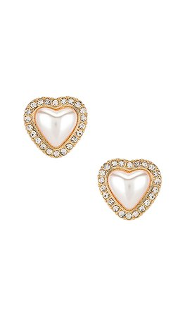 Ettika Pear Heart Stud Earrings in Gold | REVOLVE
