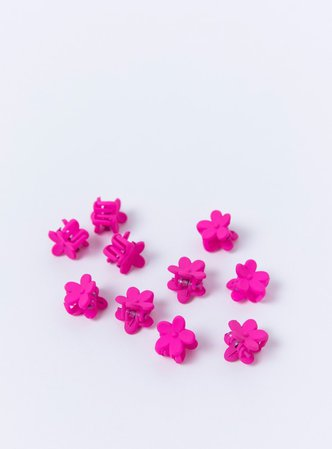 Flower Power 10 Pack Hair Clip Neon Pink   Princess Polly