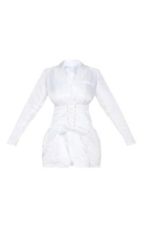White Woven Corset Waist Blazer Dress   PrettyLittleThing