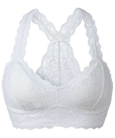 YIANNA Women White Floral Lace Bralette Padded Breathable Sexy Racerback Lace Bra Bustier Crop Top Wirefree Lingerie, YA8332-White-S at Amazon Women's Clothing store:
