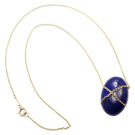 Tiffany and Co. Large Lapis Lazuli Crossover Oval Yellow Gold Pendant Necklace For Sale at 1stDibs