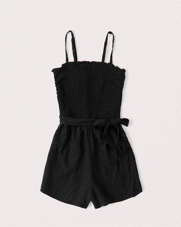 Women's Linen-Blend Strapless Romper | Women's New Arrivals | Abercrombie.com
