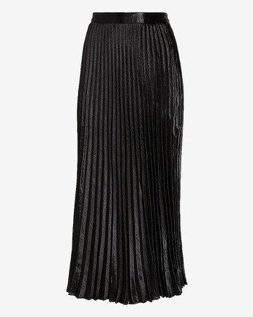 High Waisted Pleated Satin Midi Skirt