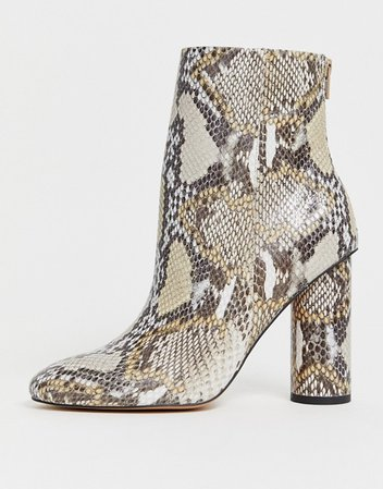 ASOS DESIGN Egypt leather heeled boots in snake | ASOS