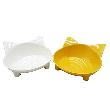 Amazon.com : Lorde Cat Bowls, Shallow Cat Food Bowls, Wide Cat Dish, Non Slip Cat Feeding Bowls, Cat Food Bowl for Relief of Whisker Fatigue Pet Food & Water Bowls Set of 2 (White/Yellow) : Pet Supplies
