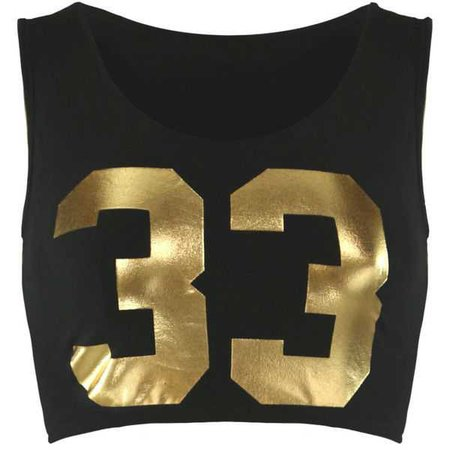 Black & Gold Crop Tank Top
