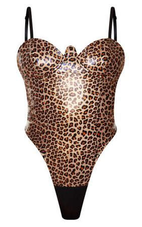 Tan Leopard Print V Wire Faux Leather Bodysuit | PrettyLittleThing