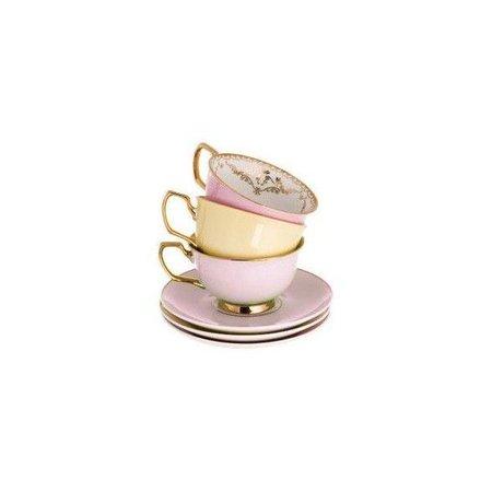 pastel pink & yellow tea cups