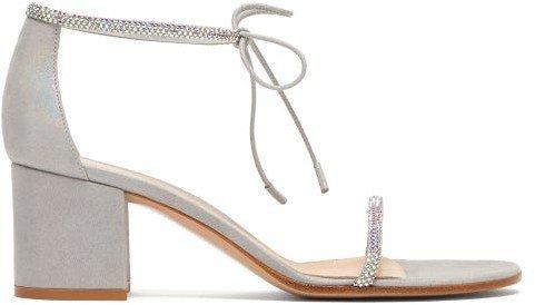 Aria 60 Crystal-embellished Block-heel Sandals - Silver