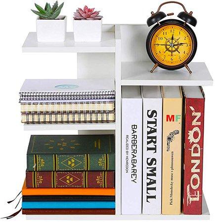 Amazon.com : PAG Wood Desktop Bookshelf Assembled Countertop Bookcase Literature Holder Accessories Display Rack Office Supplies Desk Organizer, Black : Office Products