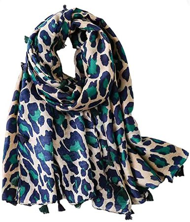 Micoop Women's Chic Leopard Pattern Scarf Long Large Animal Print Shawl Wrap (Green) at Amazon Women's Clothing store