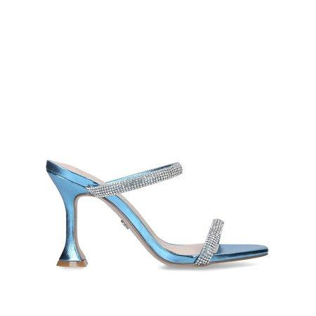 FOSTER Blue Embellished Fluted Heel Sandals by KG KURT GEIGER | Kurt Geiger