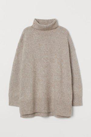 Oversized Turtleneck Sweater - Brown