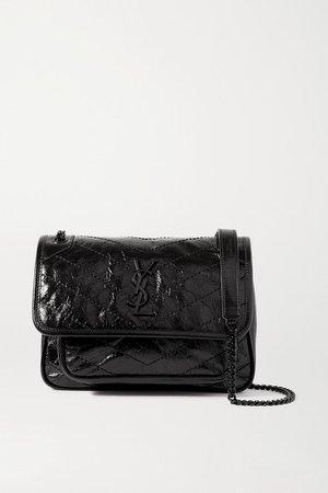 Niki Baby Mini Quilted Crinkled-leather Shoulder Bag - Black
