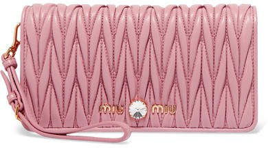 Crystal-embellished Matelassé Leather Clutch - Pink