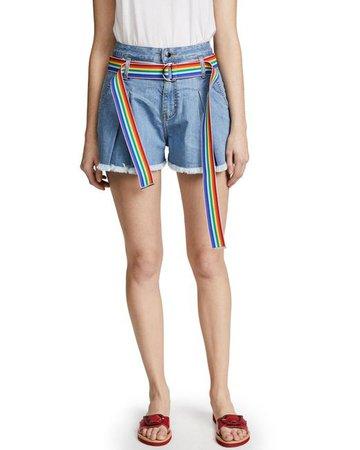 View fullscreen Romanchic Women's Blue Denim Shorts With Rainbow Belt