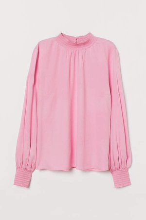 Stand-up Collar Blouse - Pink