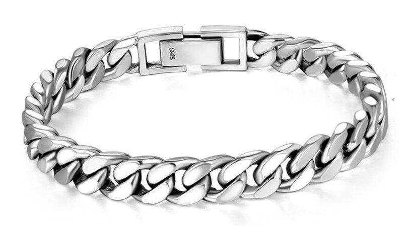 silver cuban link chain bracelet