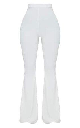 Shape White Slinky Flared Pants | Curve | PrettyLittleThing USA
