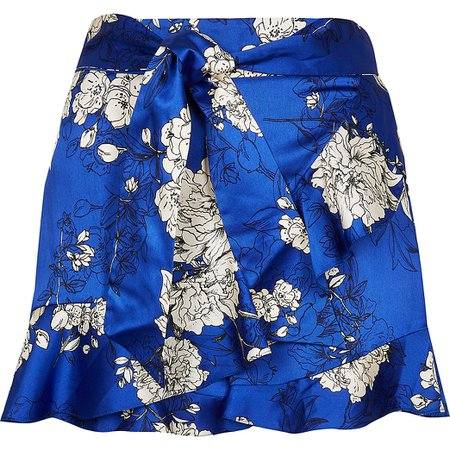 Blue floral frill belted shorts | River Island