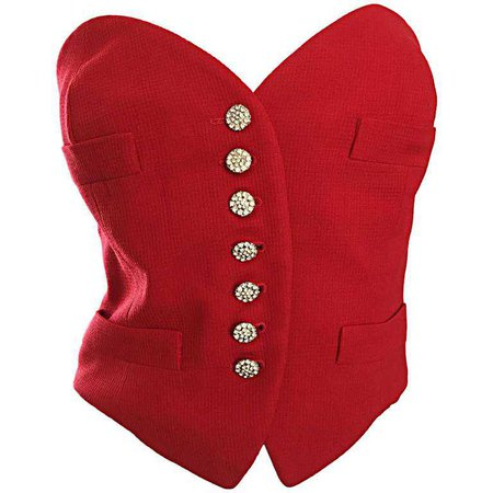 Rare Vintage Moschino Couture Red ' Heart ' Bustier Top w/ Rhinestone Buttons For Sale at 1stdibs