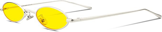 Amazon.com: FEISEDY Vintage Small Sunglasses Oval Slender Metal Frame Candy Colors B2277: Clothing