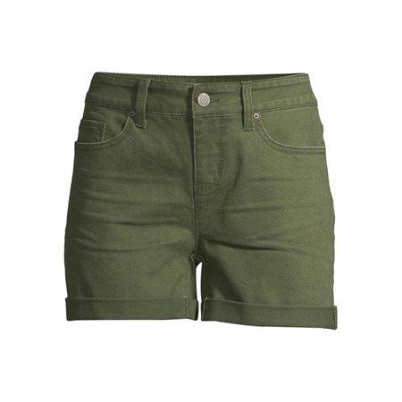 Time and Tru - Women's Mid Rise Denim Shorts - Walmart.com - Walmart.com green