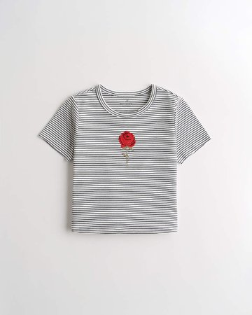 Girls Embroidered Crop Graphic Tee | Girls New Arrivals | HollisterCo.com