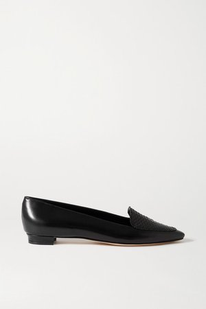 Agos Leather And Watersnake Loafers - Black