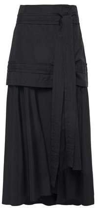 Asymmetric Layered Cotton-poplin Midi Skirt
