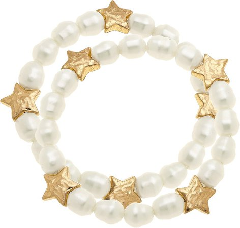 Sarah Star Set of 2 Imitation Pearl Stretch Bracelets
