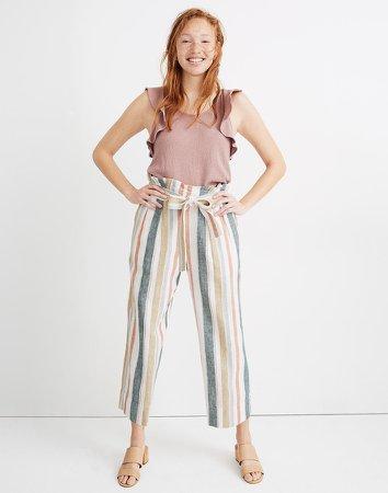 Tie-Waist Huston Pull-On Crop Pants in Stripe