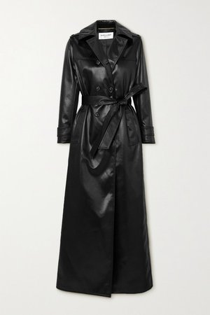 Belted Faux Leather Trench Coat - Black