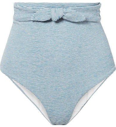 Jay Knotted Striped Jacquard-knit Bikini Briefs - Light blue