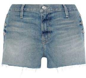 The Skiff Button-detailed Distressed Denim Shorts
