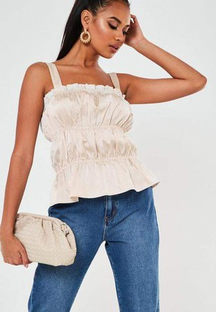 Ivory Satin Ruched Cami Top