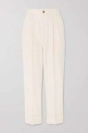 Cotton And Linen-blend Tapered Pants - White