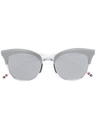 Thom Browne Eyewear Silver Titanium & Grey Acetate Sunglasses TBS507 | Farfetch