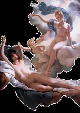 man with cherub and angel