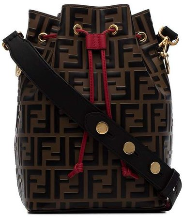 Brown Mon Tresor Medium Leather Bucket Bag