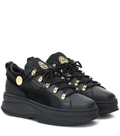 Puma - x Balmain Deva leather sneakers | Mytheresa