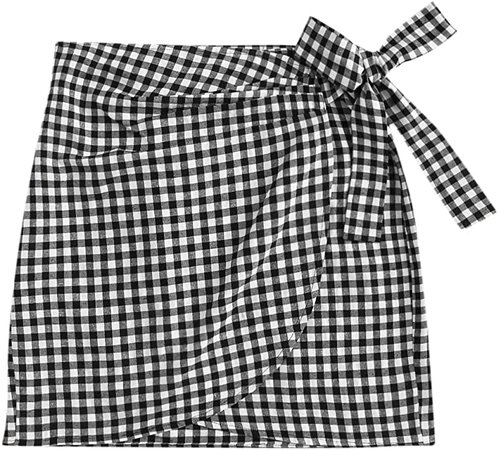 WDIRARA Women's Casual Mid Waist Gingham Print Asymmetrical Wrap Knotted Skirt Black and White