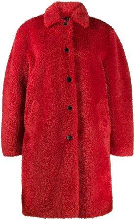 single-breasted faux-fur coat