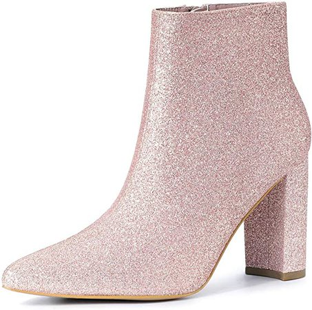 Amazon.com | Allegra K Women's Glitter Pointed Toe Chunky Heel Ankle Boots | Ankle & Bootie