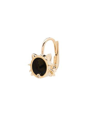 Yvonne Léon 9kt Yellow Gold Diamond Cat Earring - Farfetch
